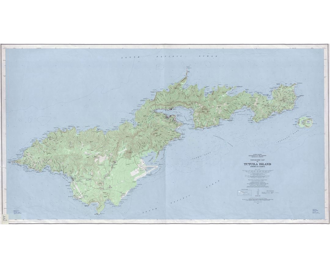 Large scale topographical map of Tutuila Island, American Samoa with other marks - 1963