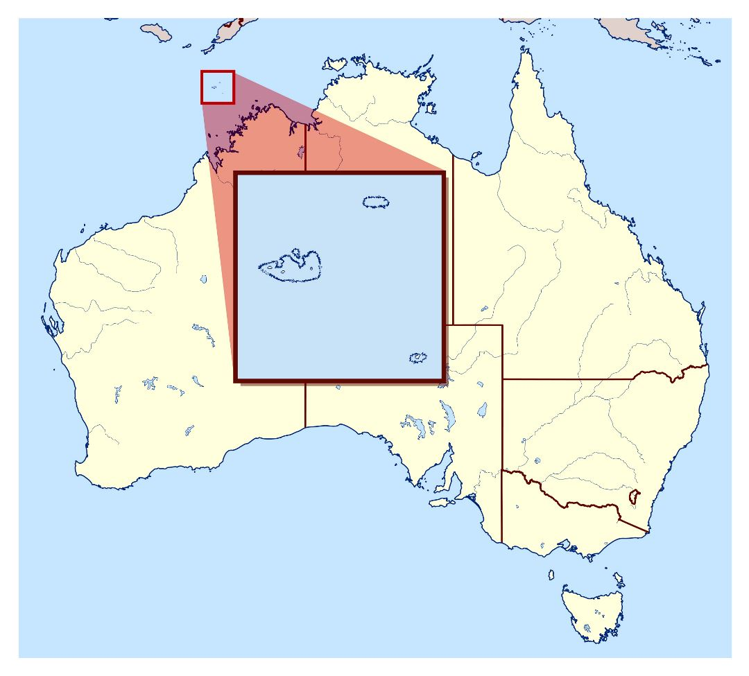 Large location map of Ashmore and Cartier Islands in Australia