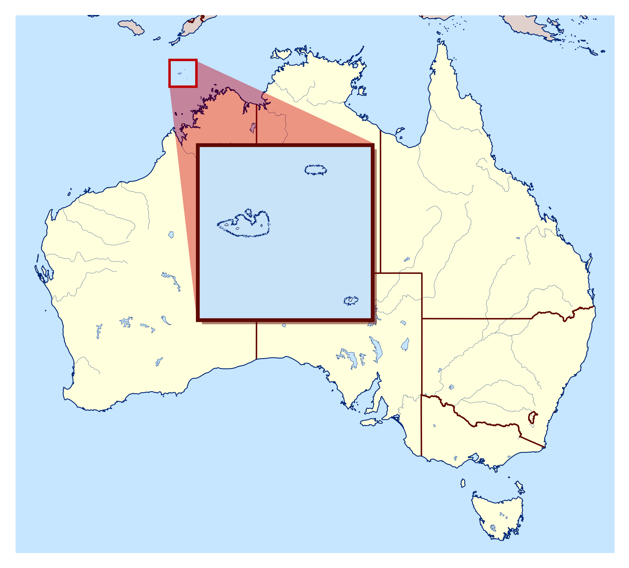 Australia Location Map.Large Location Map Of Ashmore And Cartier Islands In Australia