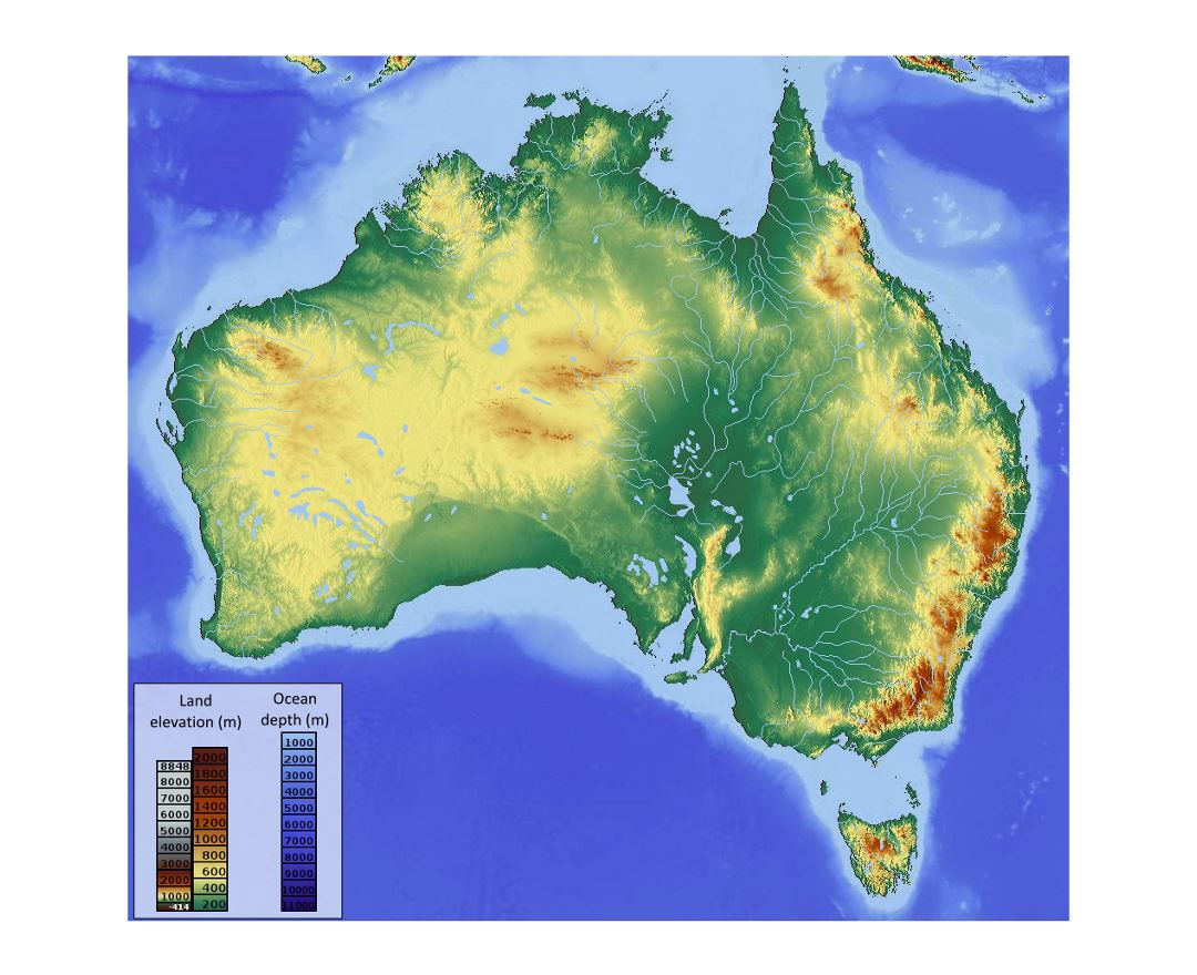 Detailed elevation map of Australia