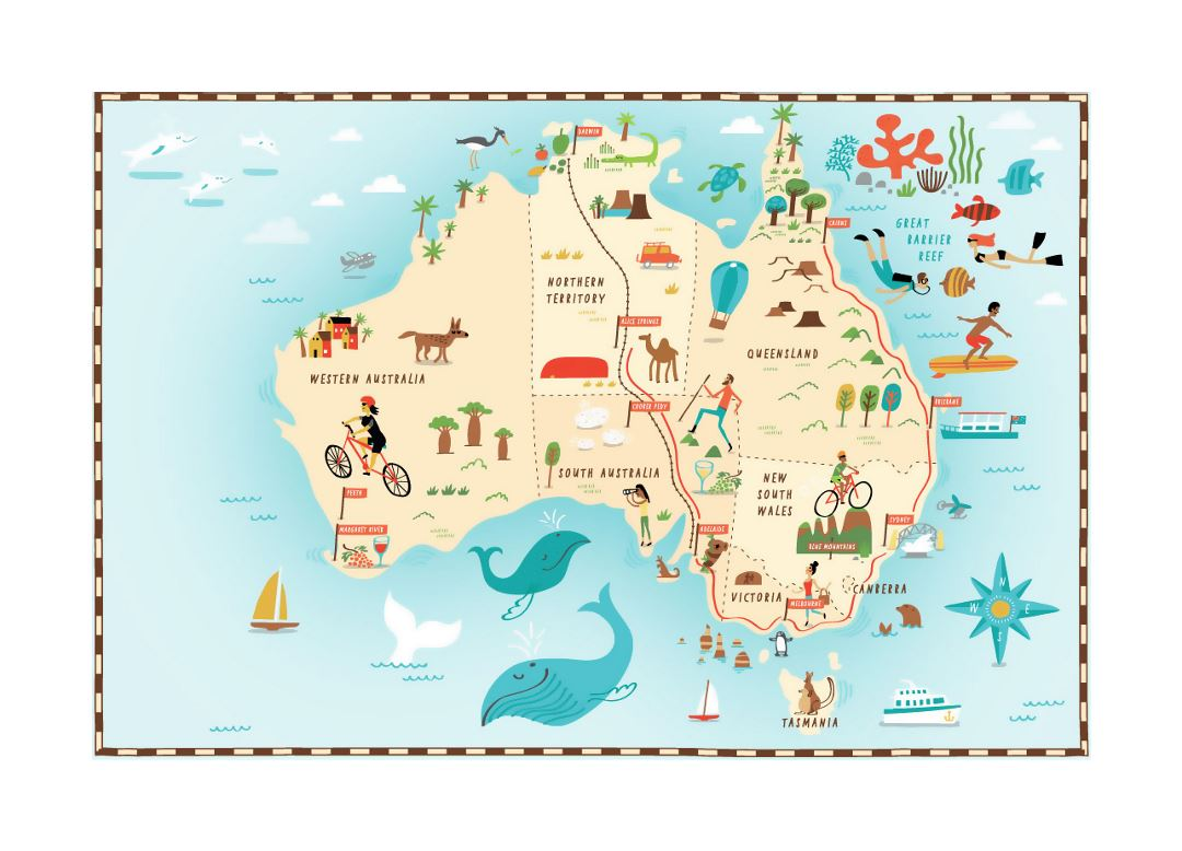 Detailed illustrated map of Australia