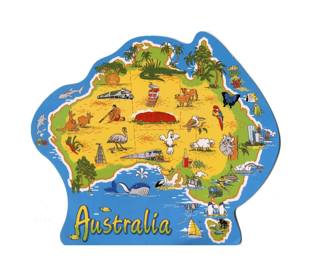 Detailed journey illustrated map of Australia