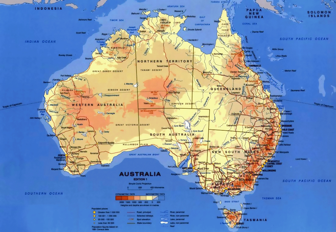 Detailed physical map of Australia with other marks | Australia ...