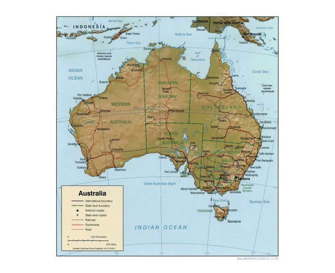 detailed political and administrative map of australia with relief roads railroads and cities