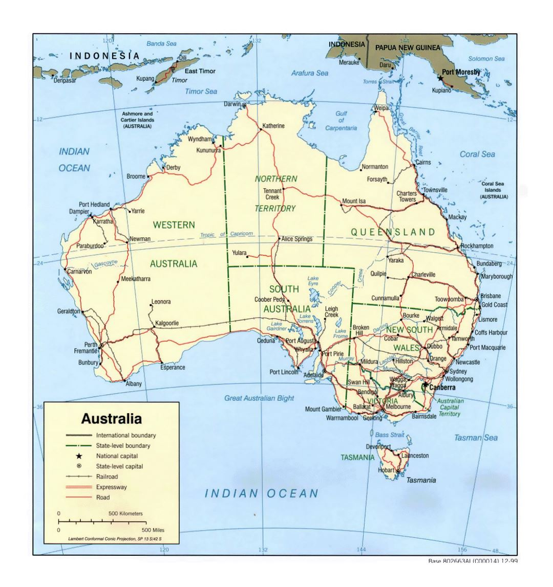 Detailed political and administrative map of Australia with roads, railroads and cities - 1999