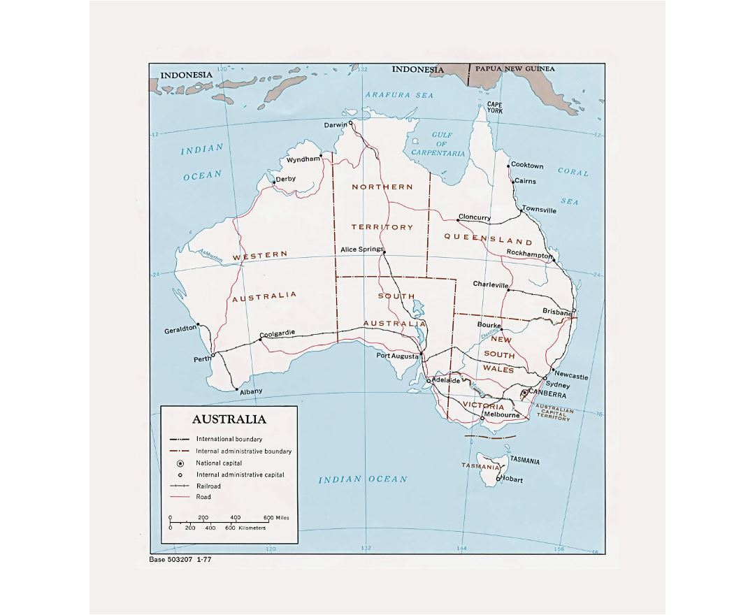 Detailed political and administrative map of Australia with roads, railroads and major cities - 1977