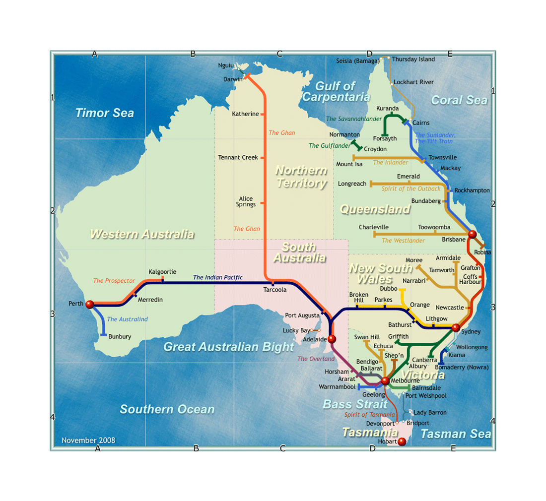 detailed rail network map of australia