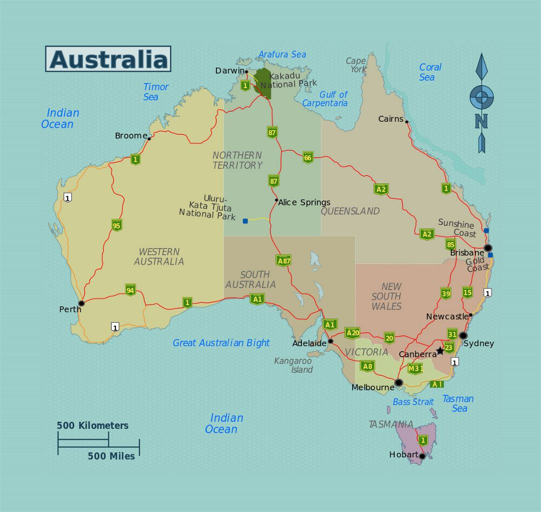 Detailed regions map of Australia