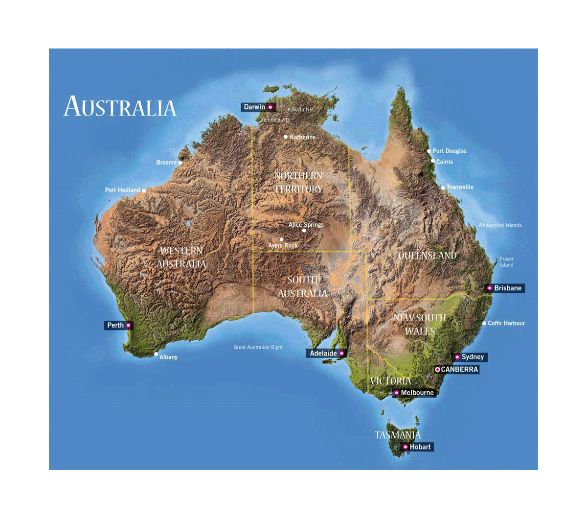 detailed relief map of australia with administrative divisions and major cities