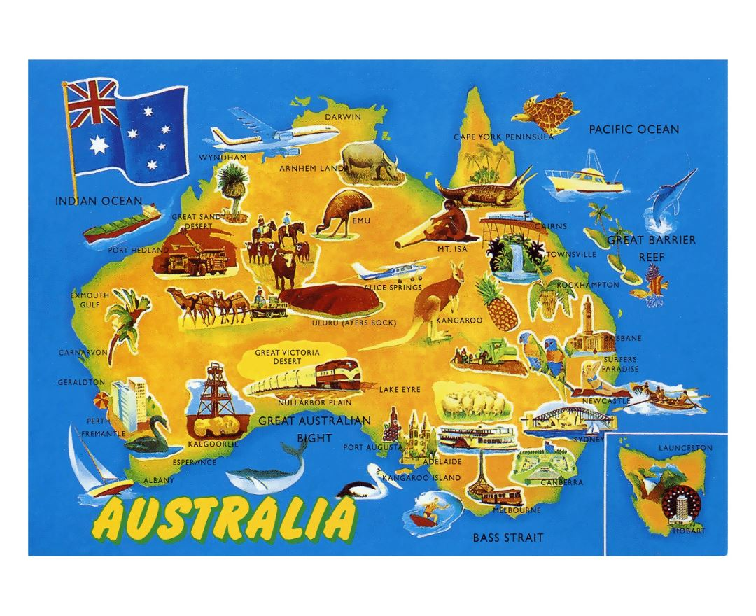 Detailed tourist illustrated map of Australia