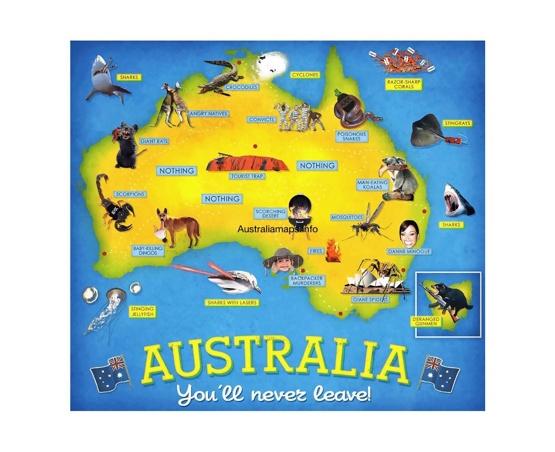 Detailed tourist map of Australia