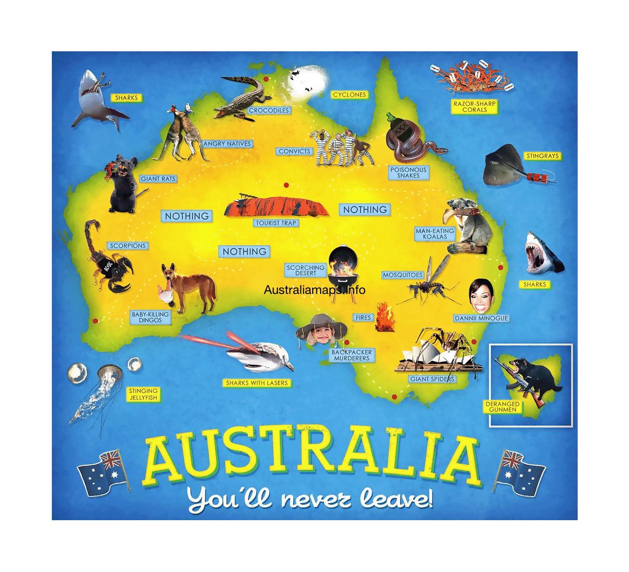 detailed tourist map of australia