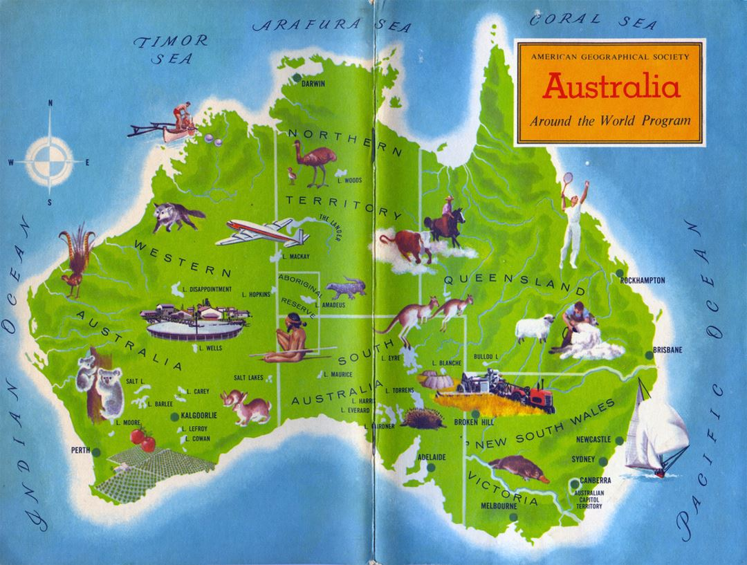 Map Of America Over Australia.Detailed Travel Around Australia Map Australia Oceania