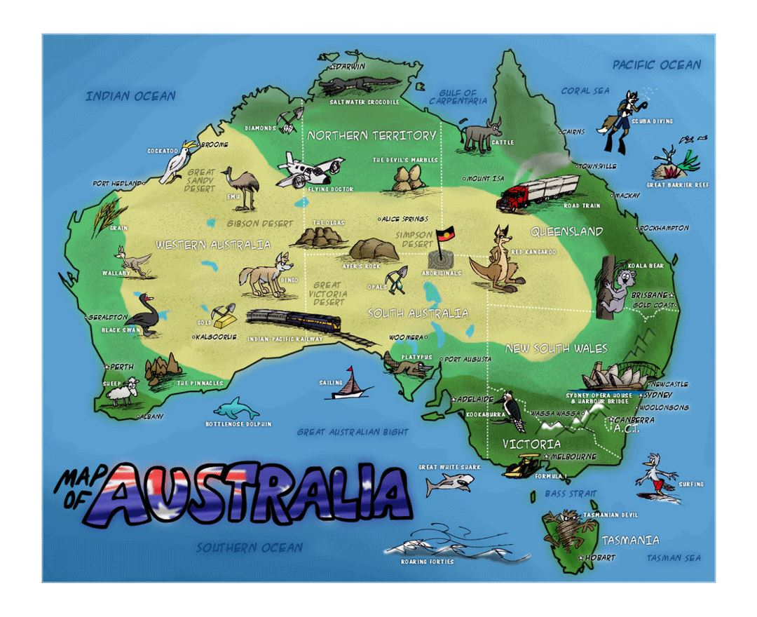 Detailed travel illustrated map of Australia