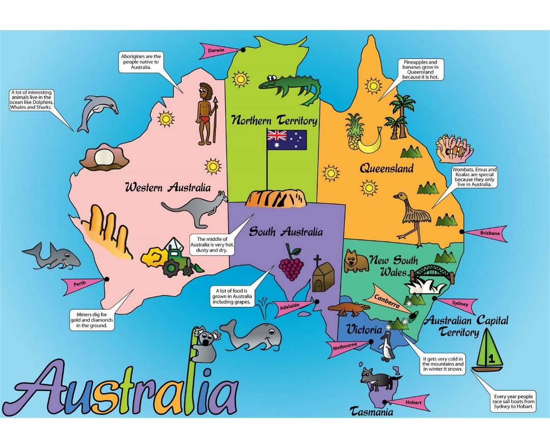 Large Australia cartoon map
