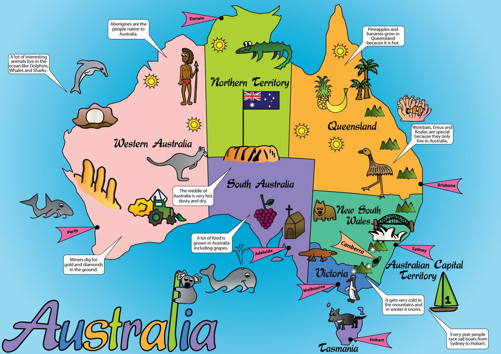 Large Australia cartoon map | Australia | Oceania | Mapsland ... on not to scale map, sci fi map, road map, political map, childrens map, countries flags map, simple map, french map, office map, car and map, cute map, tube map, game map, classroom map, me on the map, watercolor map, student with map, vintage map,