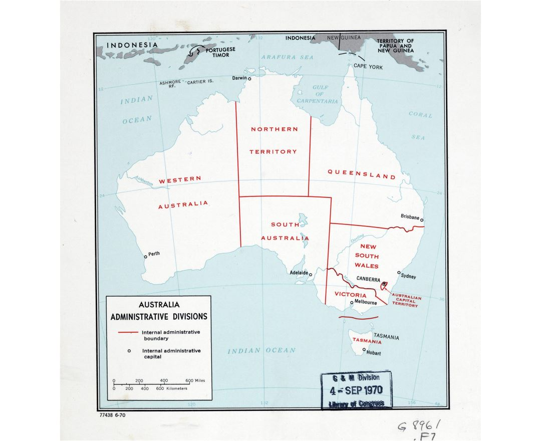 Large detailed administrative divisions map of Australia - 1970
