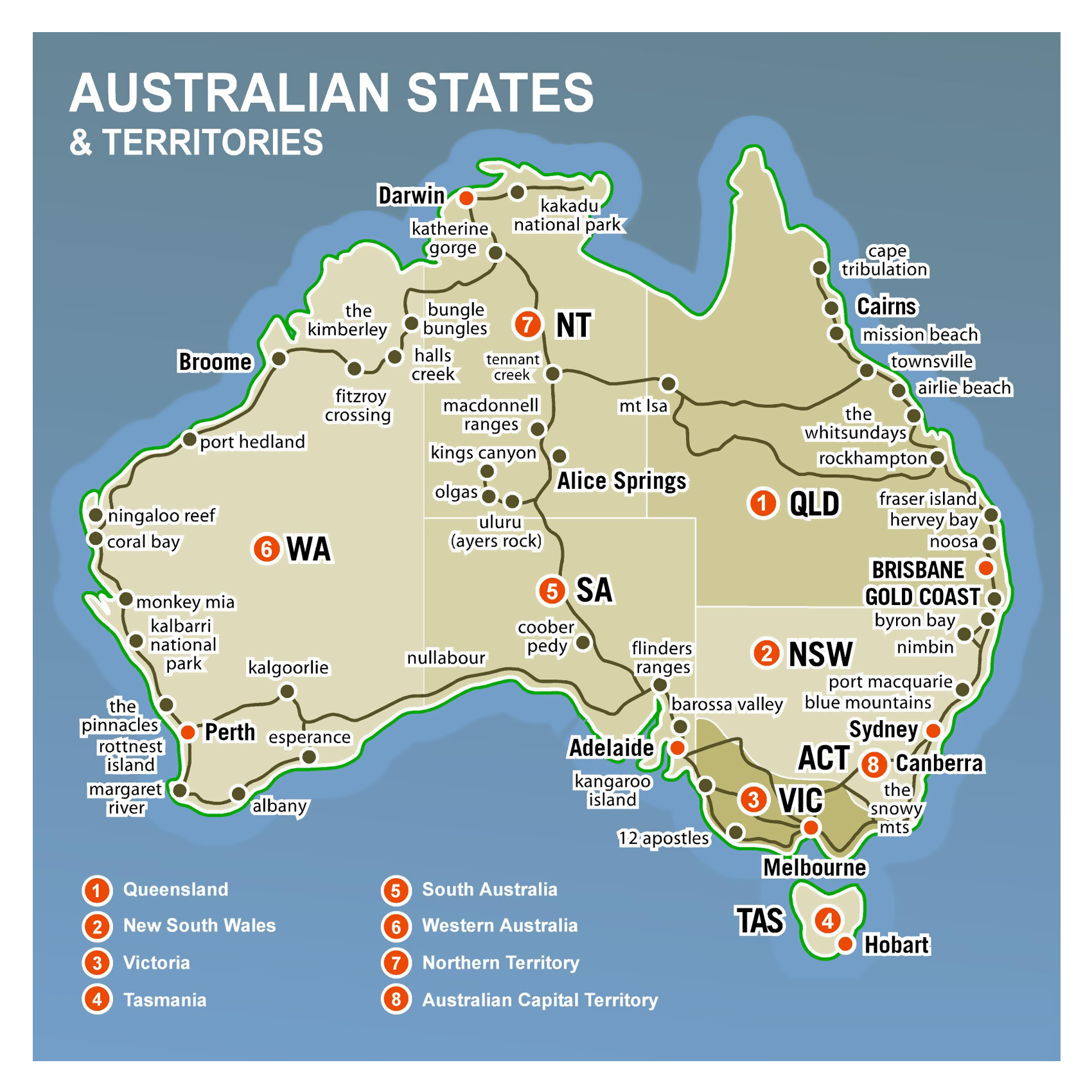 Large detailed Australia states and territories map Australia