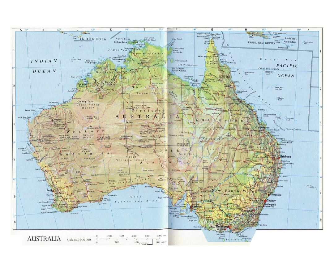Large detailed map of Australia with relief, administrative divisions, roads, cities and other marks