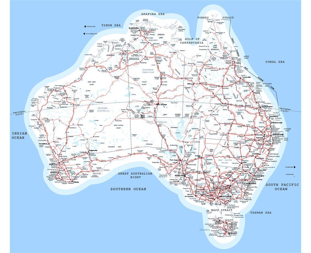 Large detailed map of Australia with roads, railroads and cities
