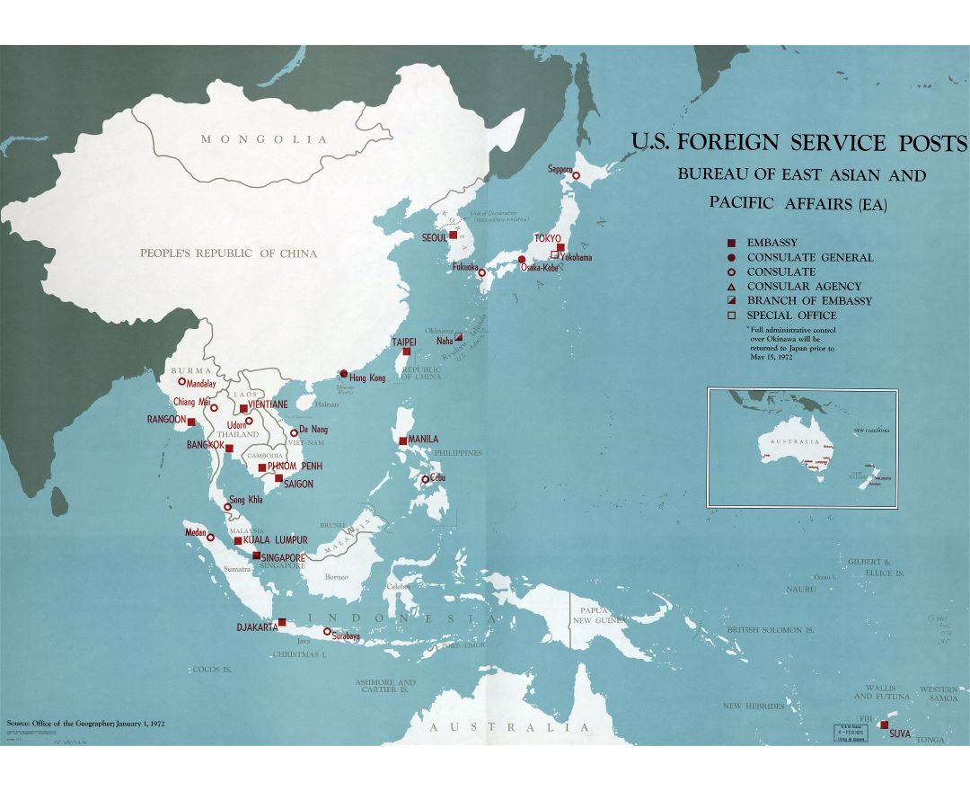 Large detailed map of U.S. Foreign Service posts, Bureau of East Asian and Pacific Affairs - 1971