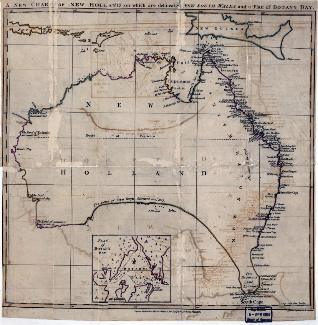 Large detailed old antique map of Australia - 1767