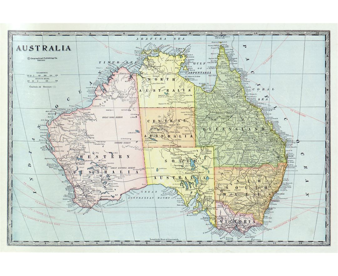 Large detailed old political and administrative map of Australia with the marks of cities, roads and other marks - 1932