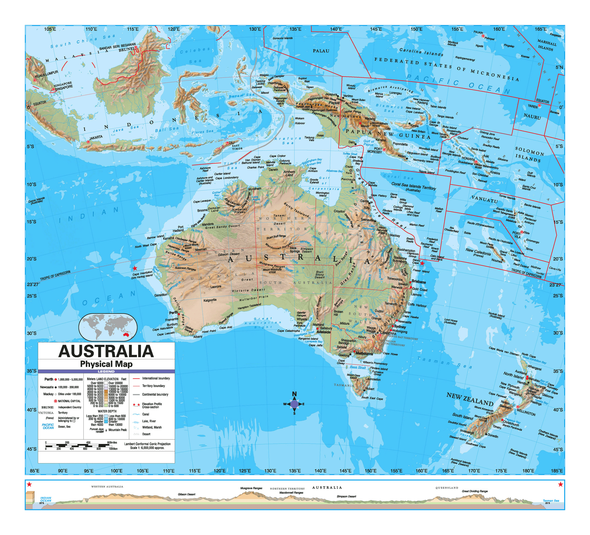 large detailed physical map of australia with other marks