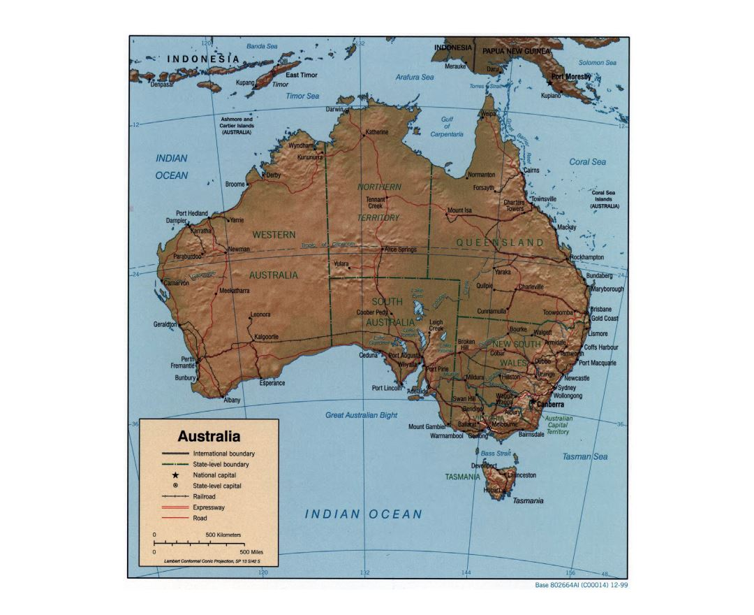large detailed political and administrative map of australia with relief roads railroads and cities