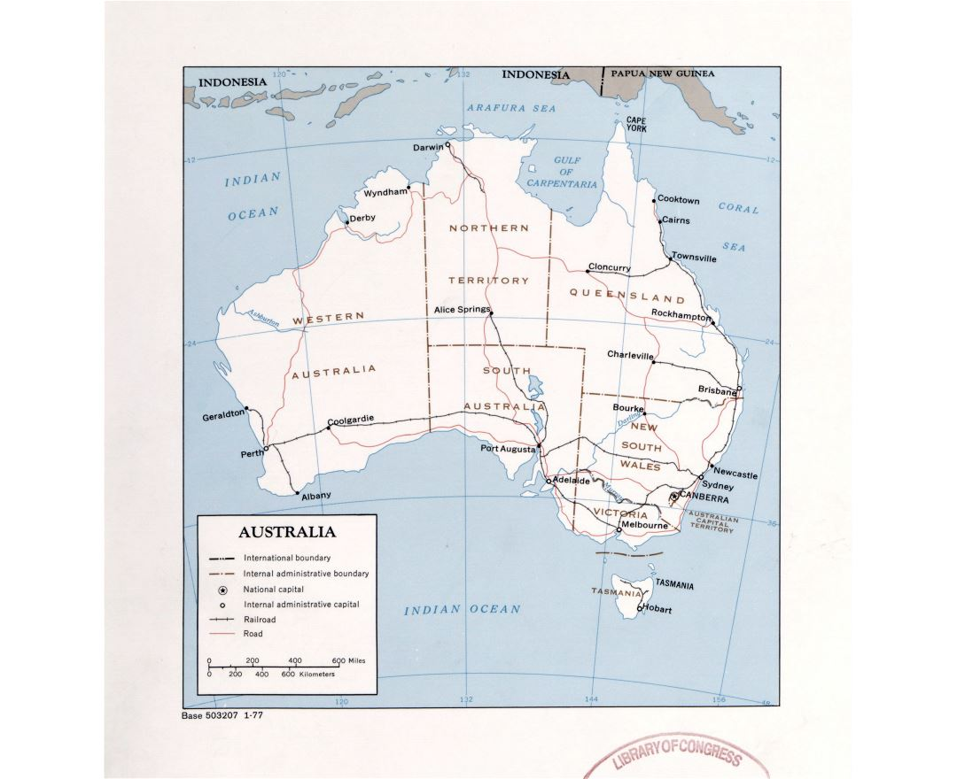 Large detailed political and administrative map of Australia with roads, railroads and major cities - 1977