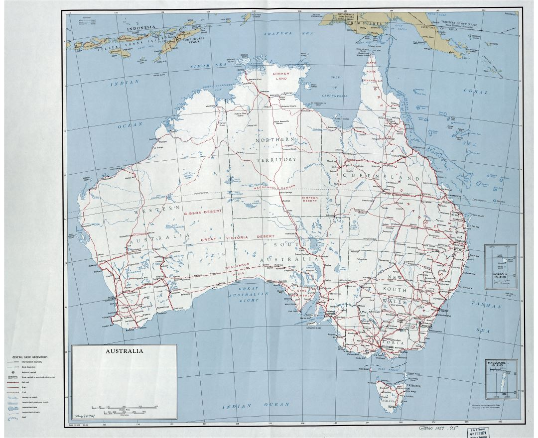 Large detailed political and administrative map of Australia with roads, railroads, cities and other marks - 1959