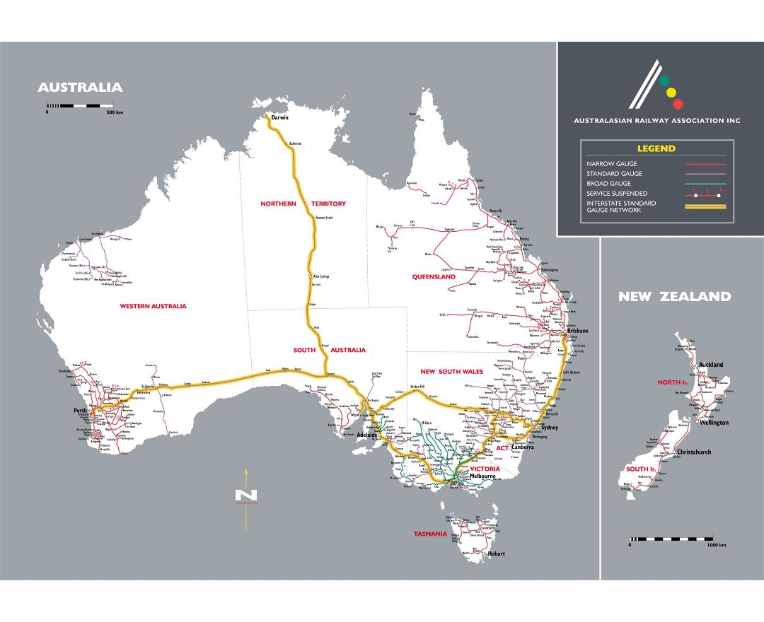 Large detailed railroads map of Australia
