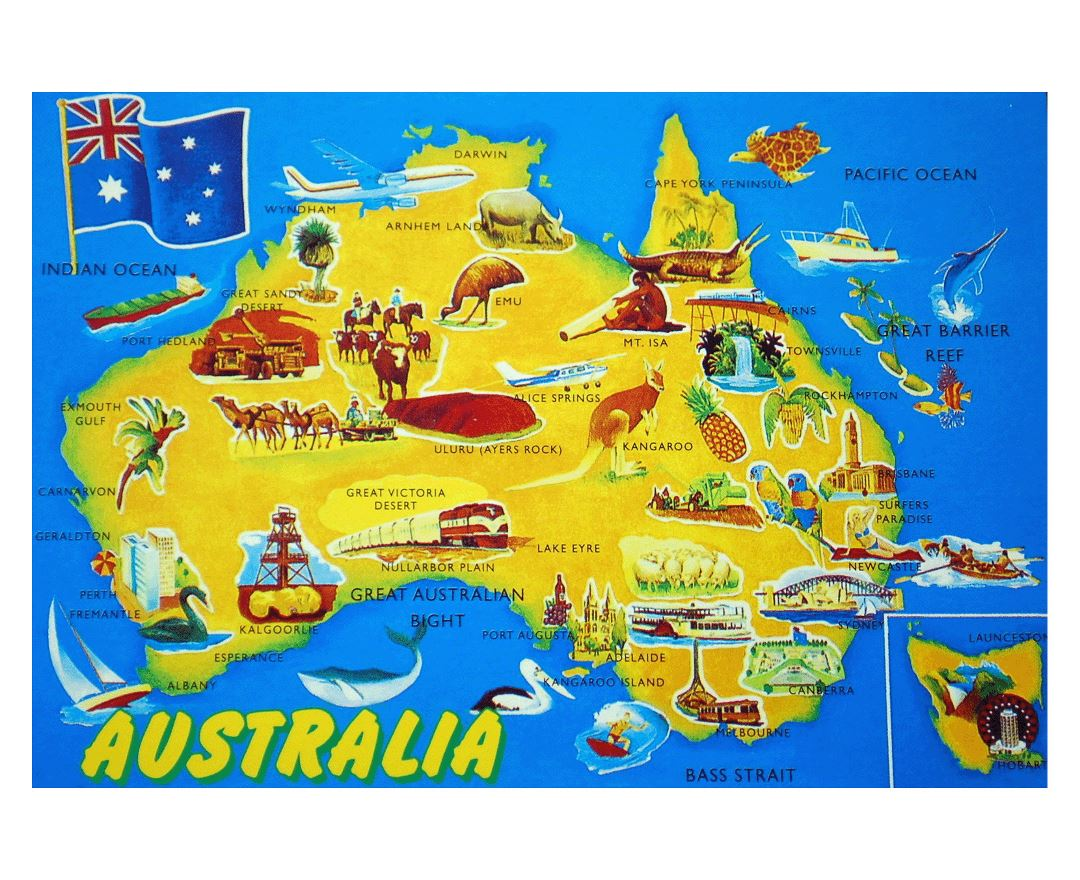 Large detailed tourist illustrated map of Australia