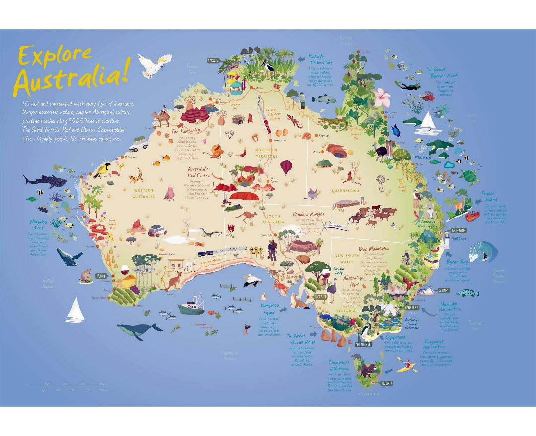 Large detailed travel illustrated map of Australia