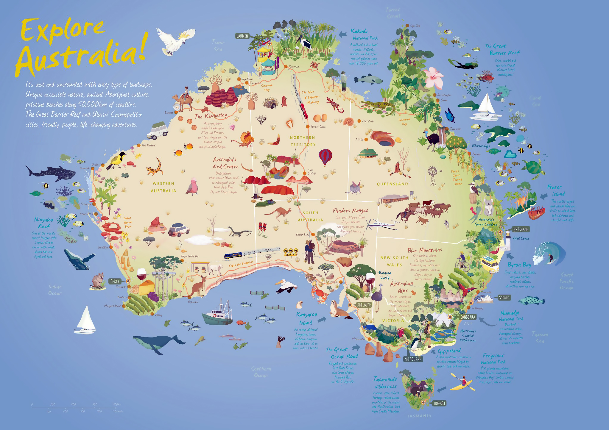 Australia Map Mountains.Large Detailed Travel Illustrated Map Of Australia