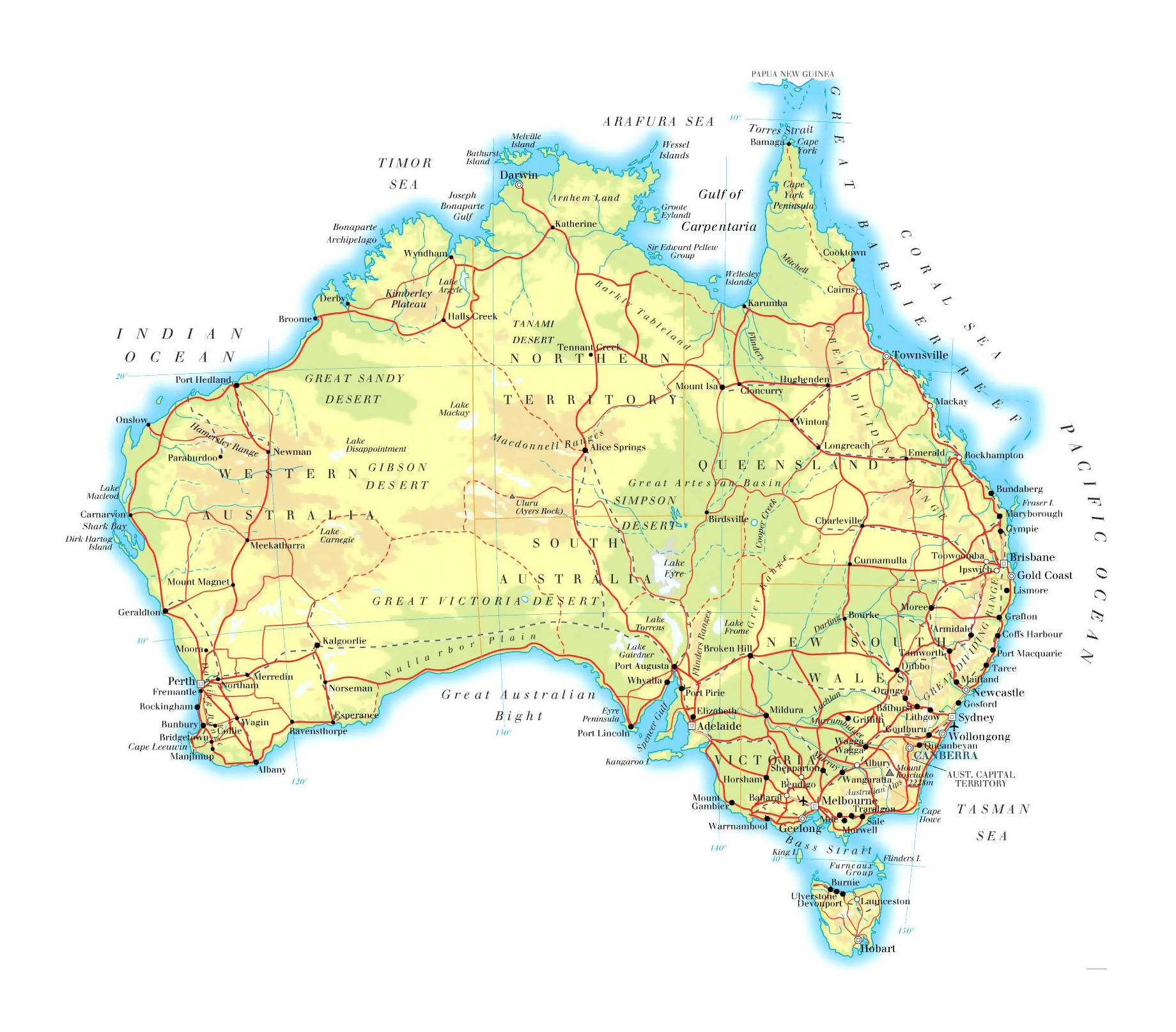 Ark Elevation Map.Large Elevation Map Of Australia With Roads Railroads Cities And
