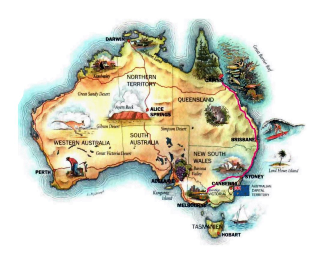 Large illustrated map of Australia