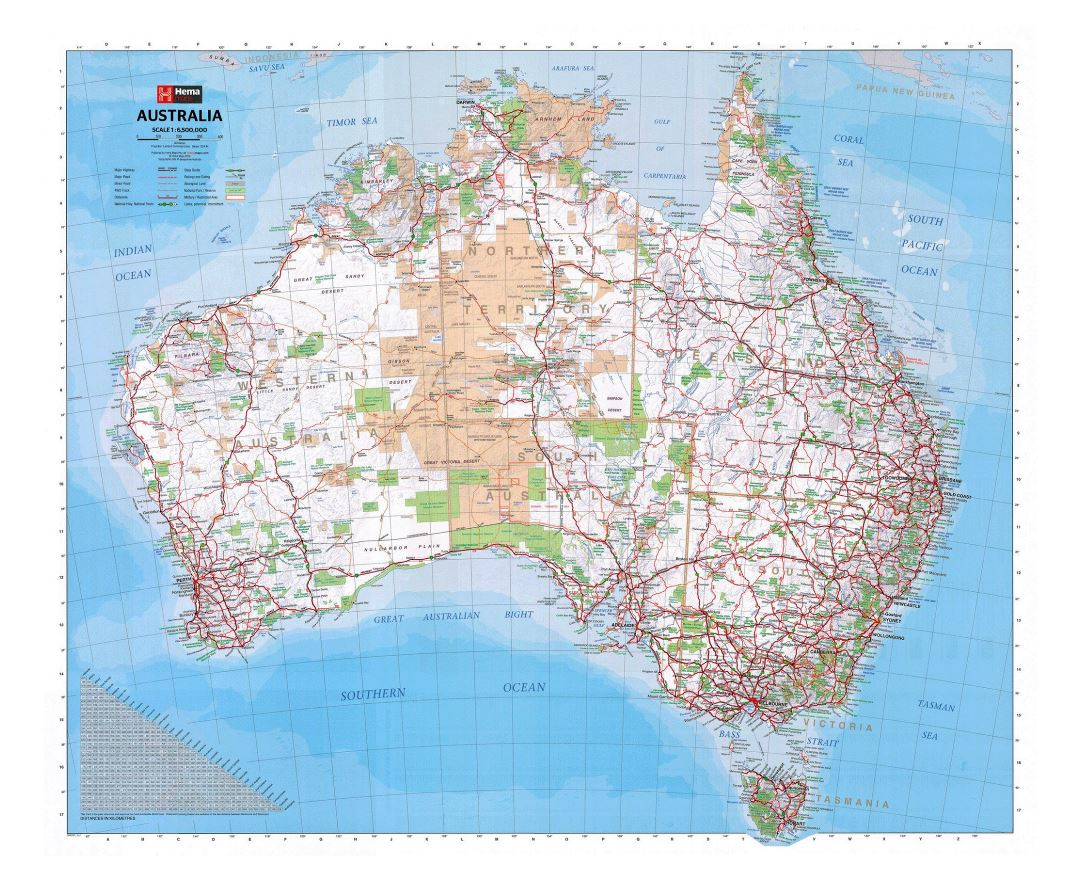 Large map of Australia with other marks