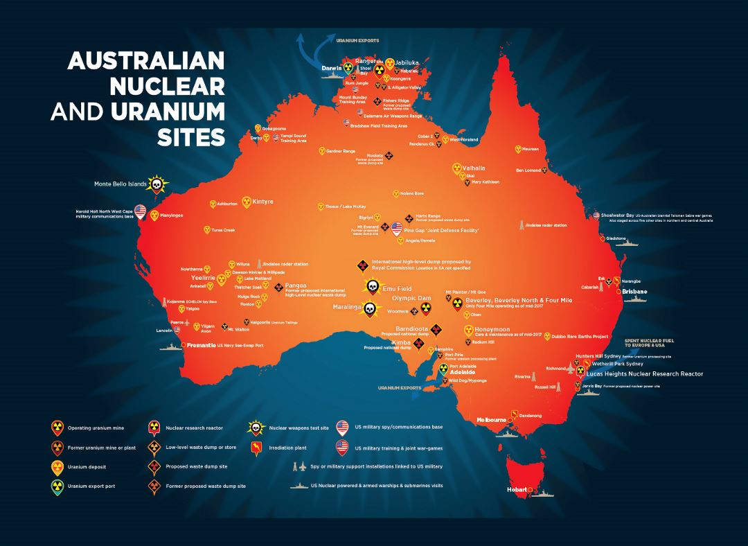 Large map of Australian nuclear and uranium sites