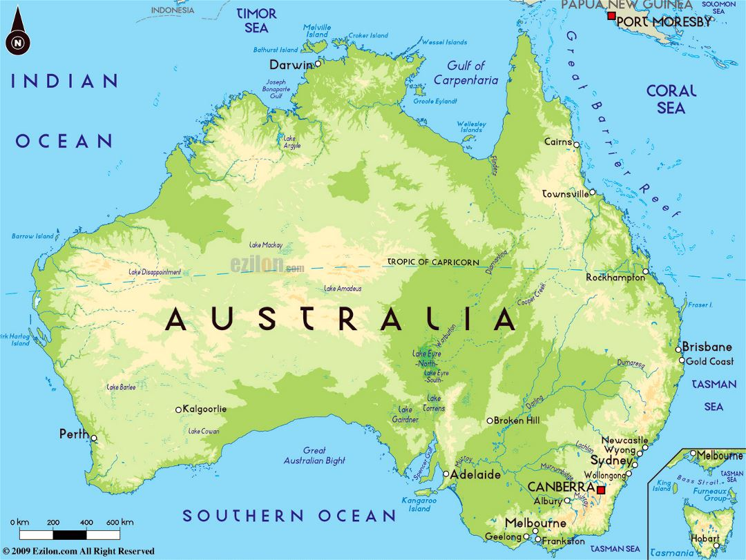 Major Cities In Australia Map.Large Physical Map Of Australia With Major Cities Australia