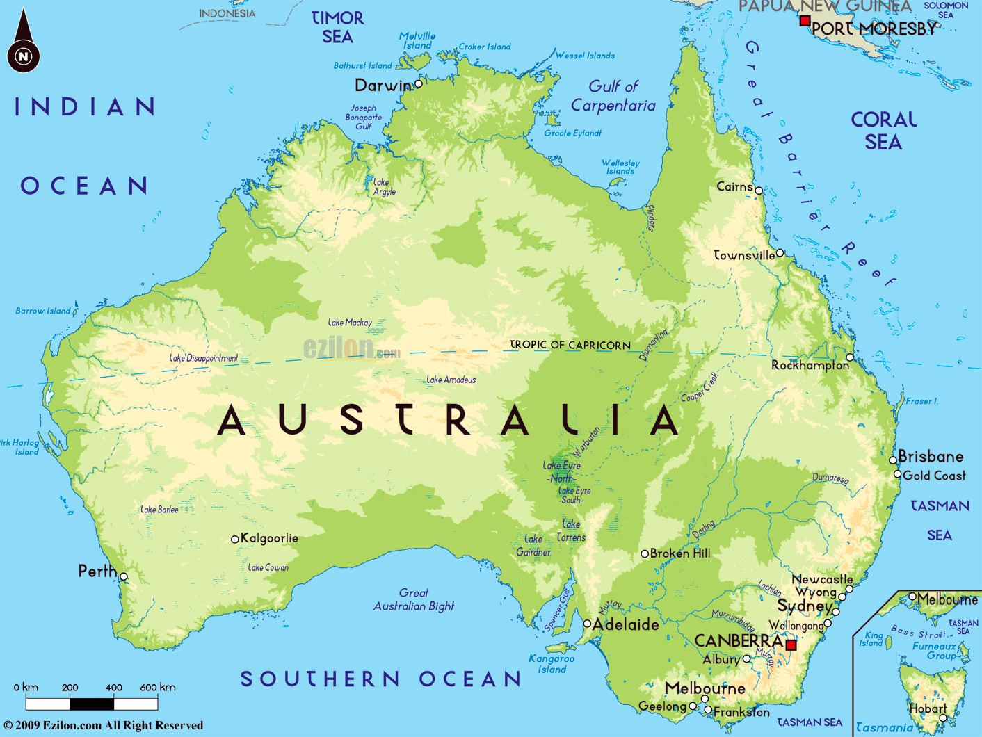 Large physical map of Australia with major cities Australia
