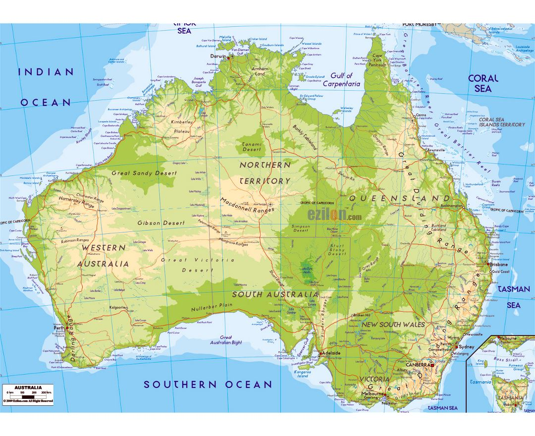 large physical map of australia with roads cities and airports