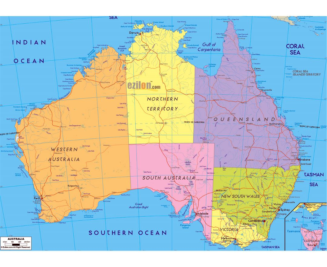 Large political and administrative map of Australia with roads, cities and airports