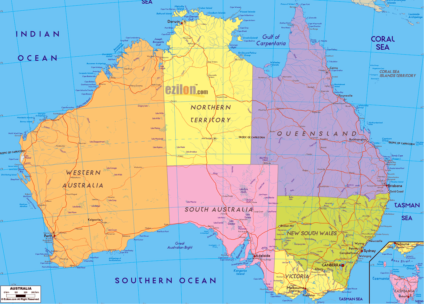 Large political and administrative map of Australia with ...