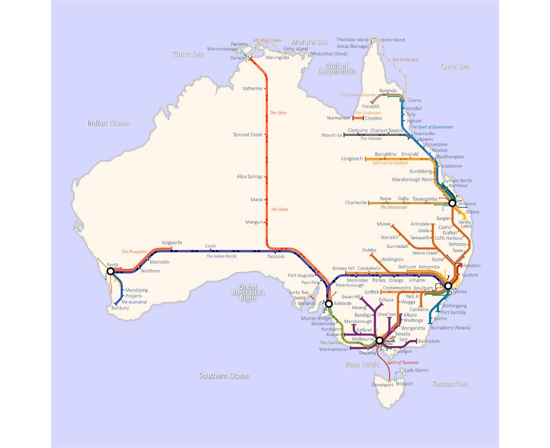 Large railroads map of Australia