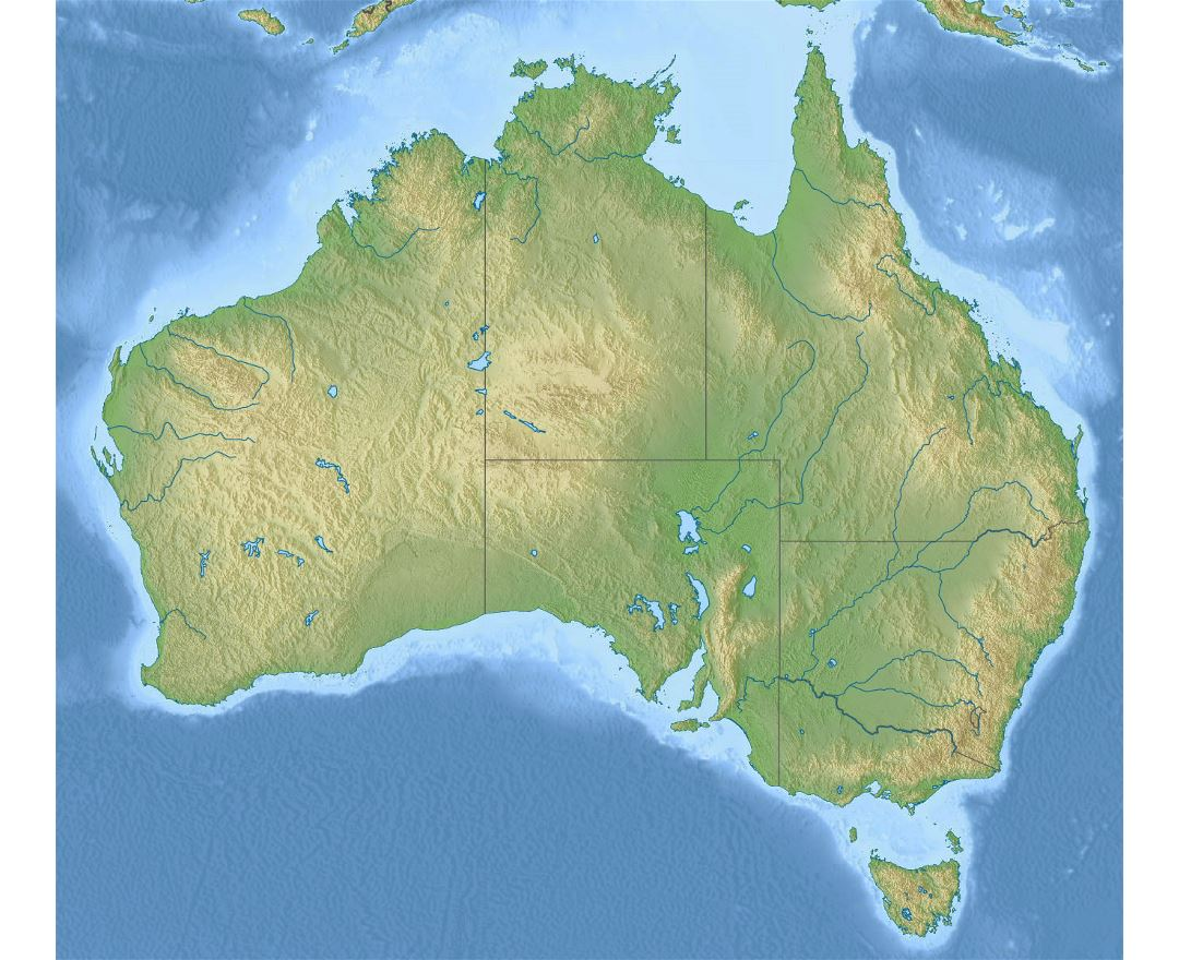 Large relief map of Australia