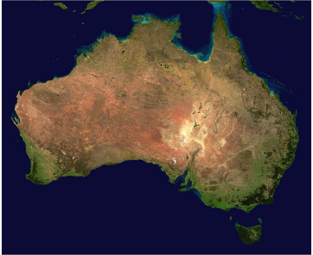 Large satellite map of Australia