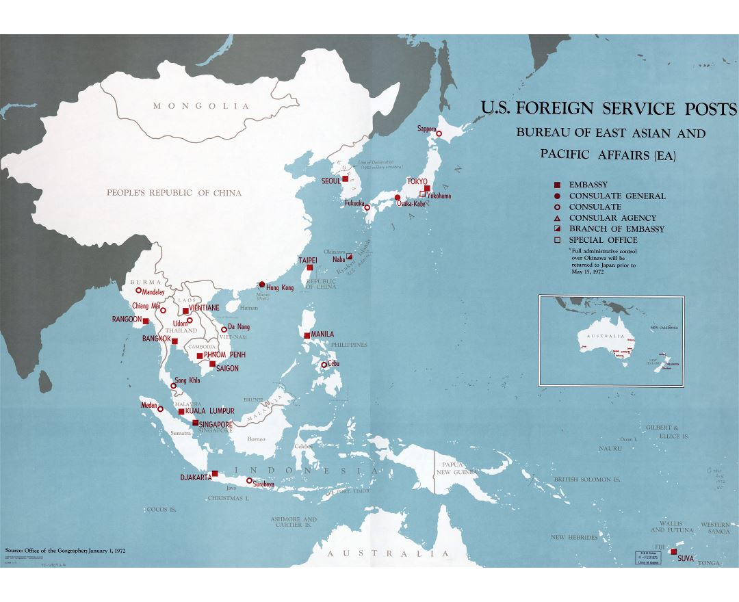 Large scale detailed map of U.S. Foreign Service posts, Bureau of East Asian and Pacific Affairs - 1971