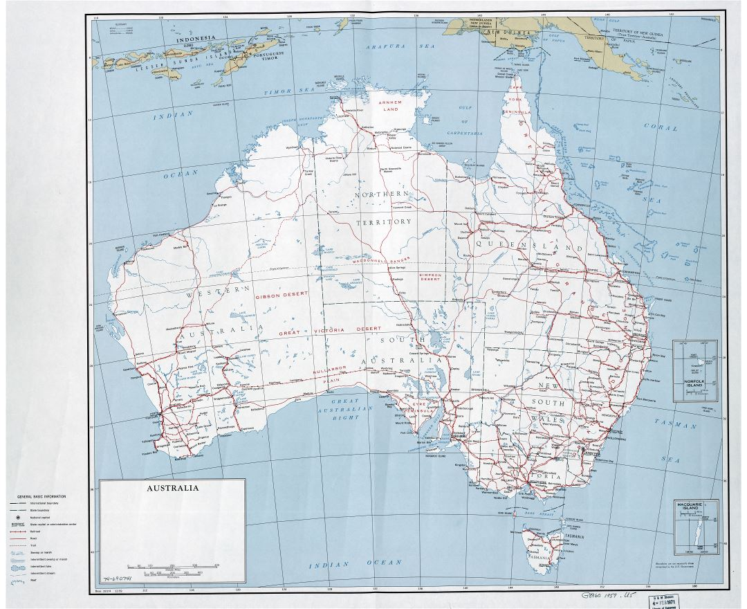 Large scale detailed political and administrative map of Australia with roads, railroads, cities and other marks - 1959
