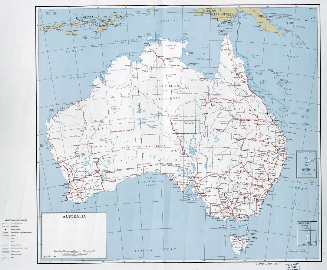 large scale detailed political and administrative map of australia with roads railroads cities and